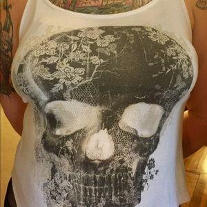 White Mesh Skull Tank Top from Hot Topic